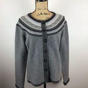 TALBOT Wool Nordic Fair Isle Gray Button Cardigan